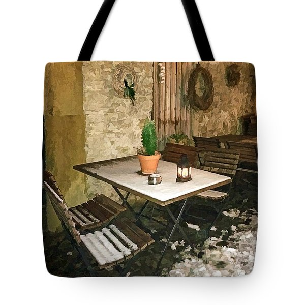Patio Seating On A Winter Evening Tote Bag