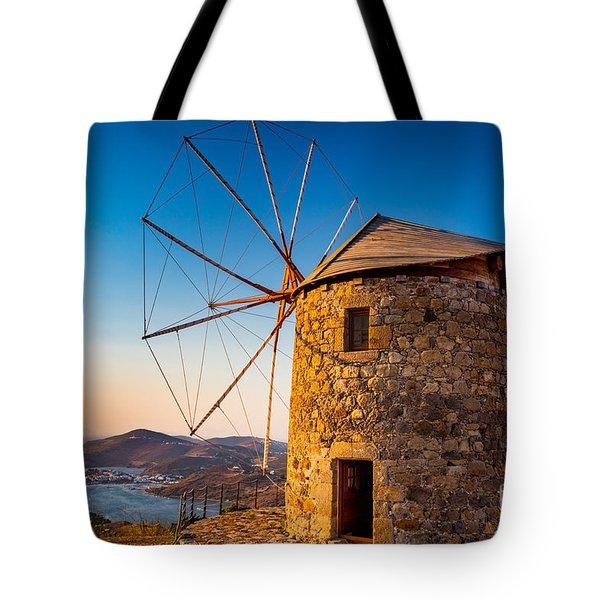 Patmos Windmills Tote Bag