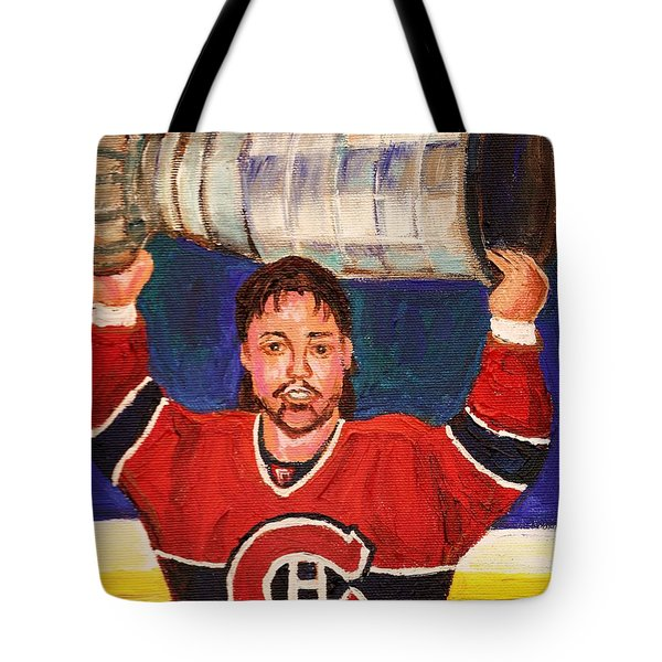 Patrick Roy Wins The Stanley Cup Tote Bag by Carole Spandau