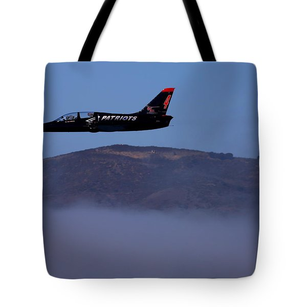 Patriot Jet Skims The Fog Over San Francisco Bay Tote Bag