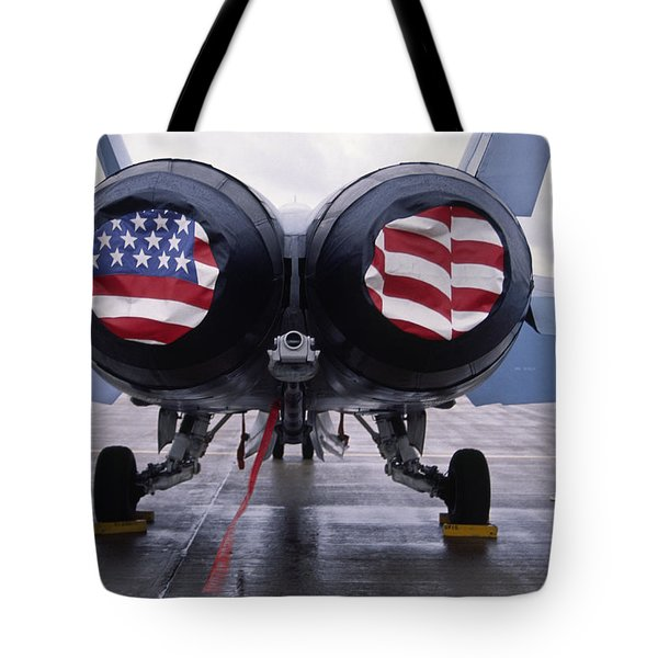 Patriotic American Flag Covers On The Rear Of An American F/a-18 Hornet Fighter Combat Jet Aircraft. Tote Bag