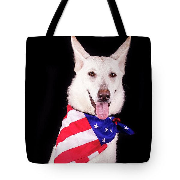 Patriotic Dog Tote Bag by Stephanie Hayes