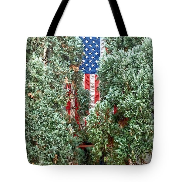 Tote Bag featuring the photograph Patriotic Georgetown Home by Lorella Schoales