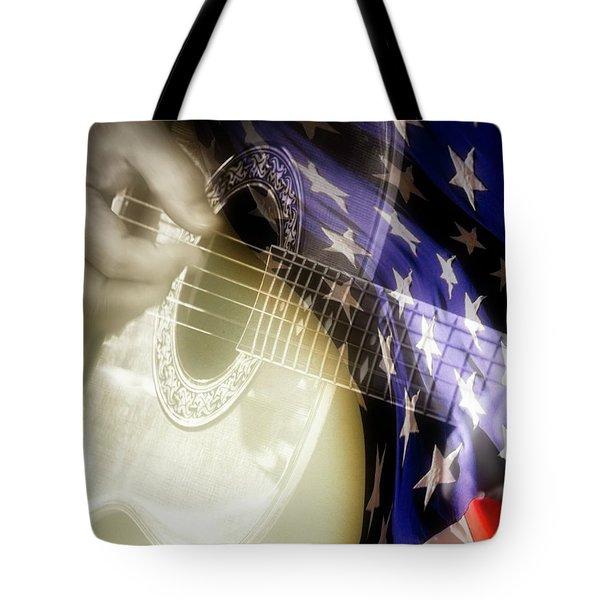 Patriotic Guitar Tote Bag