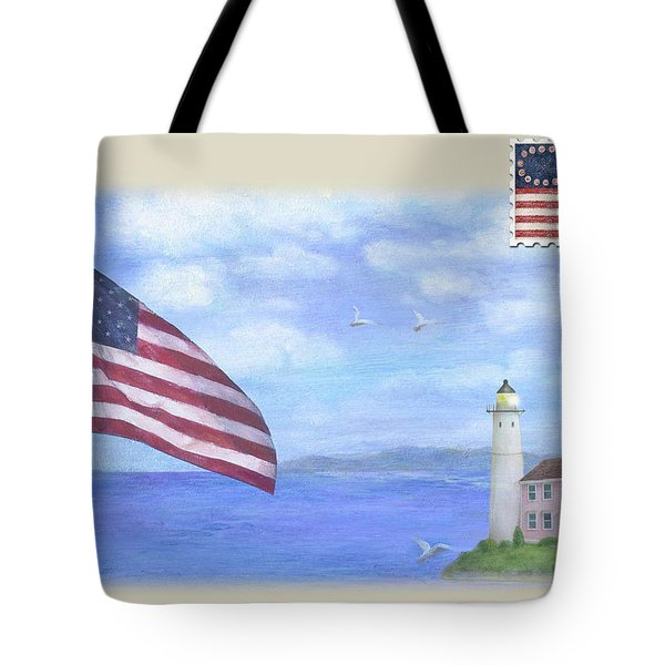Patriotic Illustrated Lighthouse Tote Bag