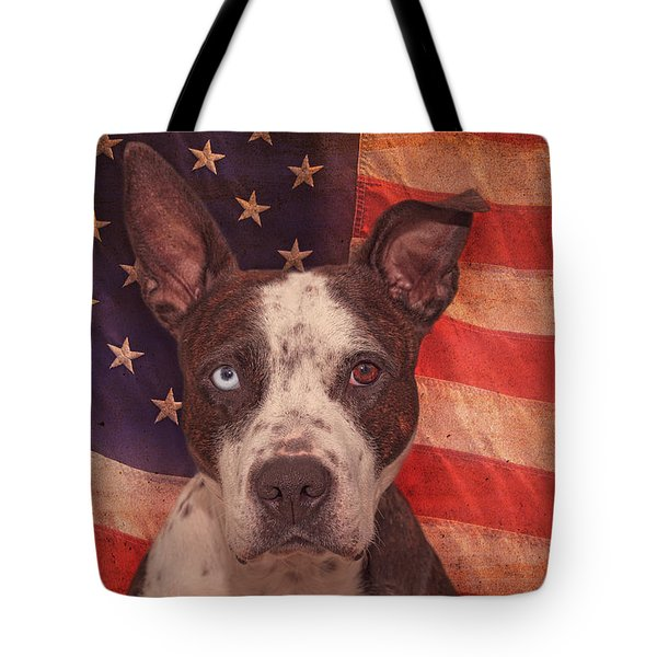 Patriotic Pit Bull  Tote Bag by Brian Cross