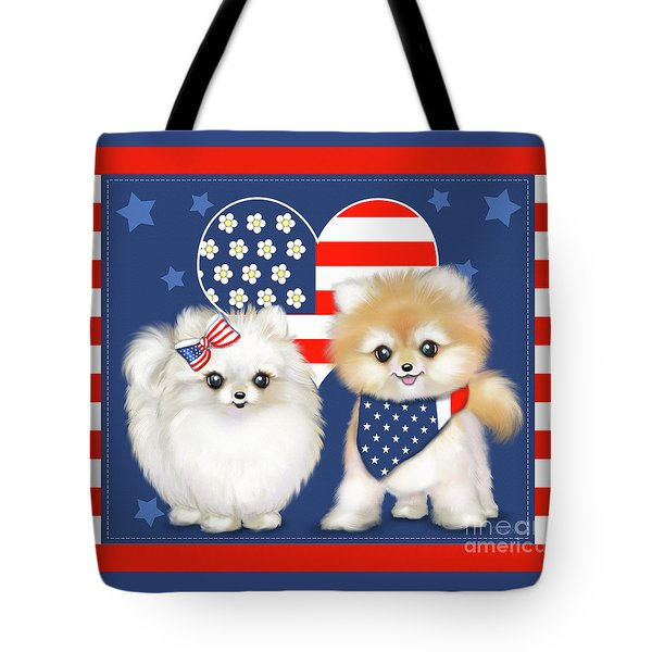 Tote Bag featuring the painting Patriotic Pomeranians by Catia Lee