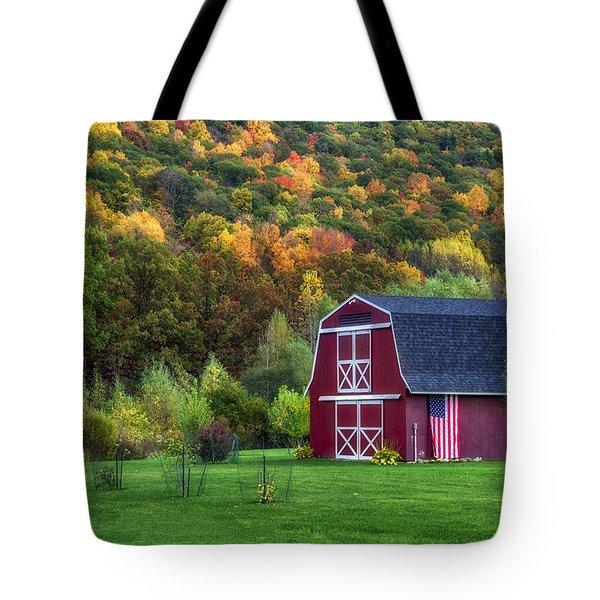 Patriotic Red Barn Tote Bag
