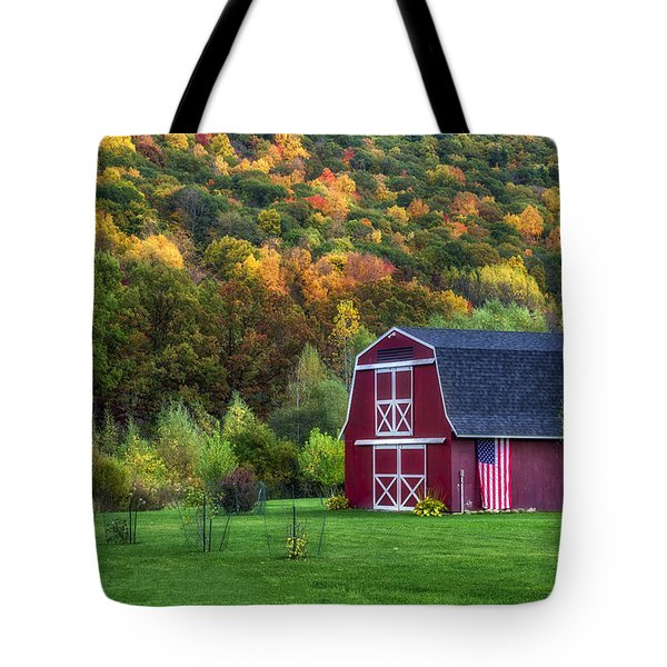Patriotic Red Barn Tote Bag by Mark Papke