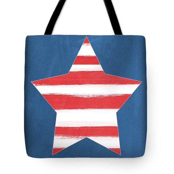 Patriotic Star Tote Bag by Linda Woods