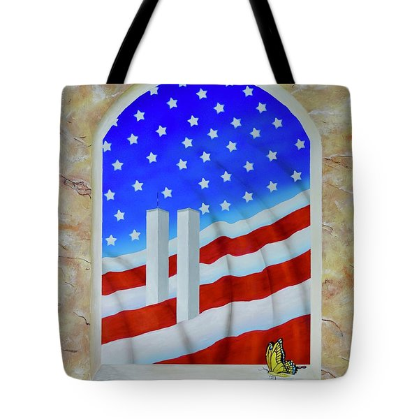 Tote Bag featuring the painting Patriotic View by Mary Scott