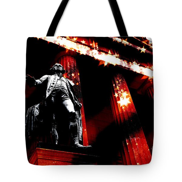 Patriotic Washington On Wall Street Tote Bag by John Rizzuto