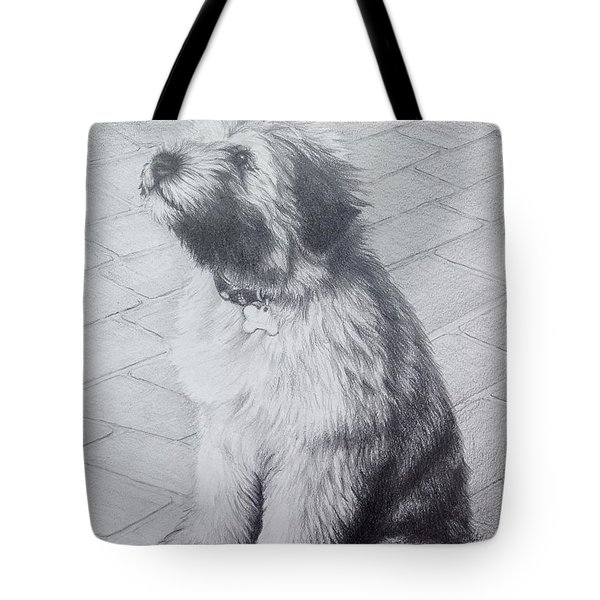 Tote Bag featuring the drawing Patsy's Puppy by Mike Ivey