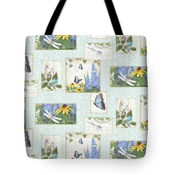 Pattern Butterflies Dragonflies Birds And Blue And Yellow Floral Tote Bag by Audrey Jeanne Roberts