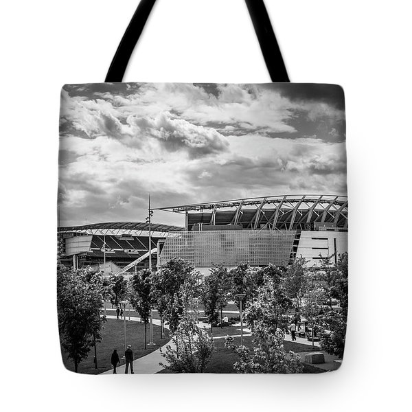 Paul Brown Stadium Black And White Tote Bag by Scott Meyer