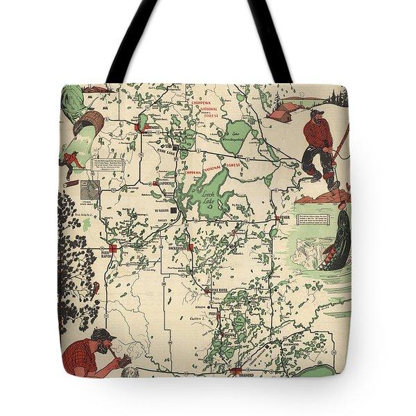 Paul Bunyan's Playground - Northern Minnesota - Vintage Illustrated Map - Cartography Tote Bag