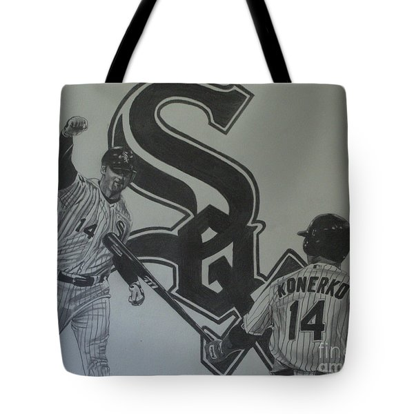 Tote Bag featuring the drawing Paul Konerko Collage by Melissa Goodrich