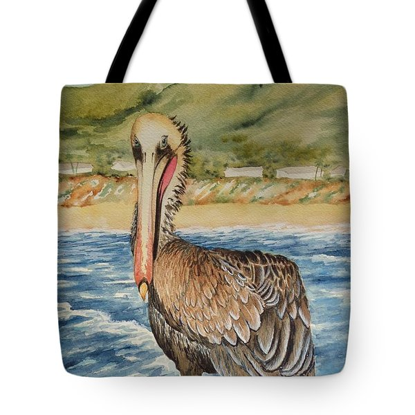 Tote Bag featuring the painting Paula's Pelican by Katherine Young-Beck