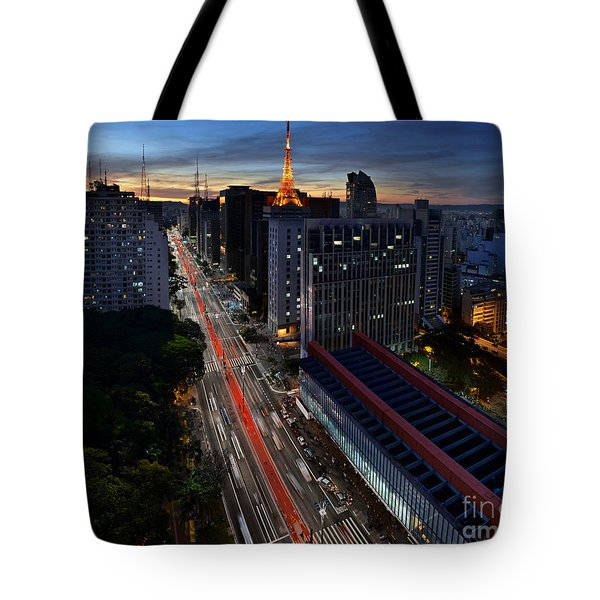 Paulista Avenue And Masp At Dusk - Sao Paulo - Brazil Tote Bag