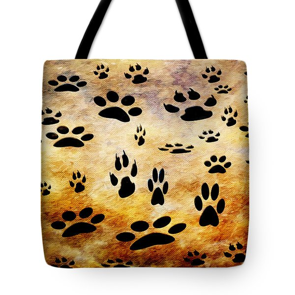 Tote Bag featuring the digital art Paw Prints by Andee Design