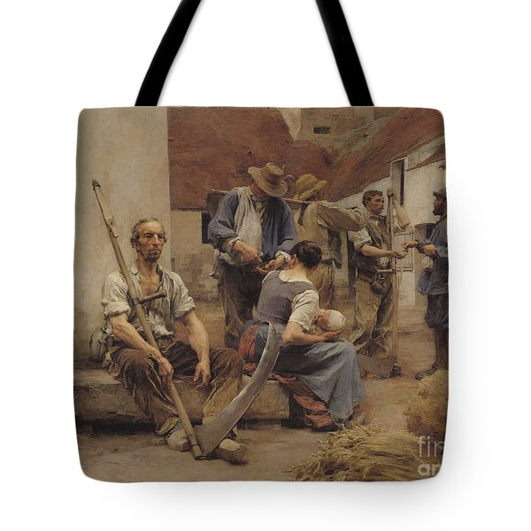 Paying The Harvesters Tote Bag by Leon Augustin Lhermitte