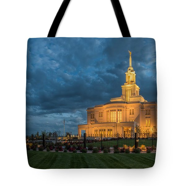 Payson Temple Panorama Tote Bag
