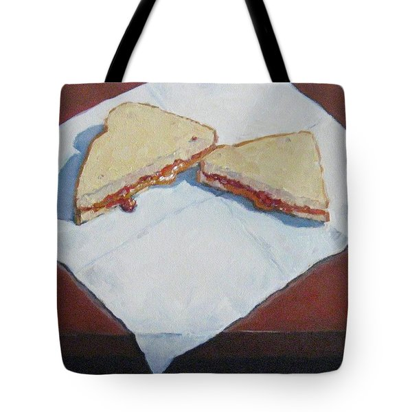 Tote Bag featuring the painting Pb And J On Napkin by Jennifer Boswell
