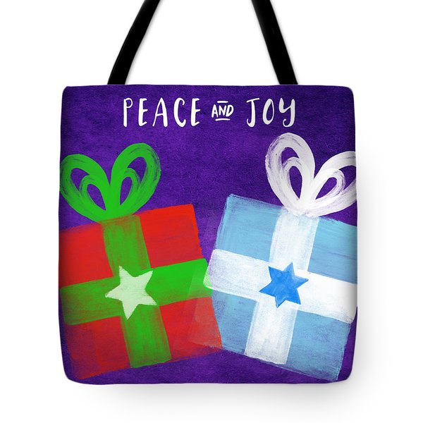Peace And Joy- Hanukkah And Christmas Card By Linda Woods Tote Bag