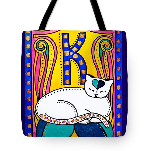 Peace And Love - Cat Art By Dora Hathazi Mendes Tote Bag by Dora Hathazi Mendes