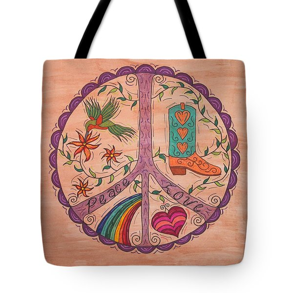 Peace And Love Western Style Tote Bag by Susie WEBER