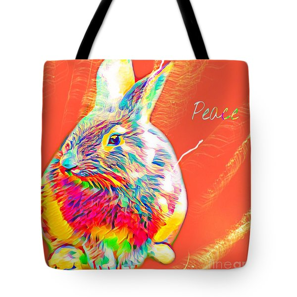 Tote Bag featuring the mixed media Peace Bunny by Jessica Eli