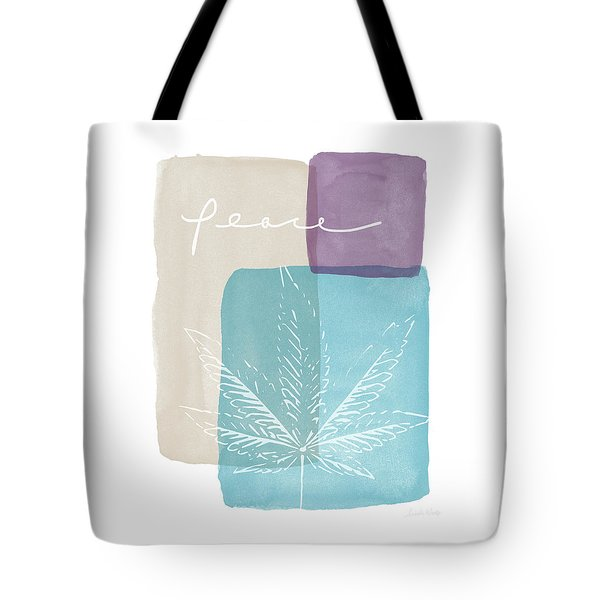 Peace Cannabis Leaf Watercolor- Art By Linda Woods Tote Bag by Linda Woods