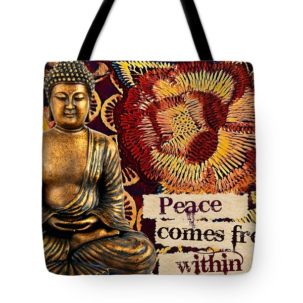 Tote Bag featuring the mixed media Peace Comes From Within. Buddha by Lita Kelley