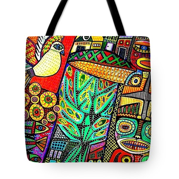 Peace Dove In Totem Forest Tote Bag