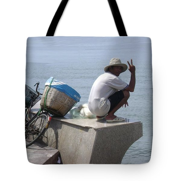Peace From Vietnam-man On A Wall Tote Bag