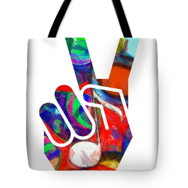 Peace Hippy Paint Hand Sign Tote Bag