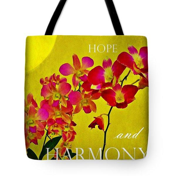 Peace Hope And Harmony Tote Bag