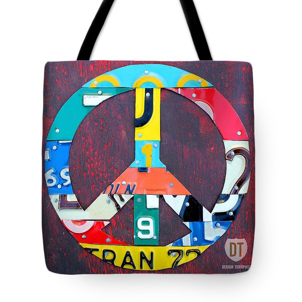 Peace License Plate Art Tote Bag by Design Turnpike