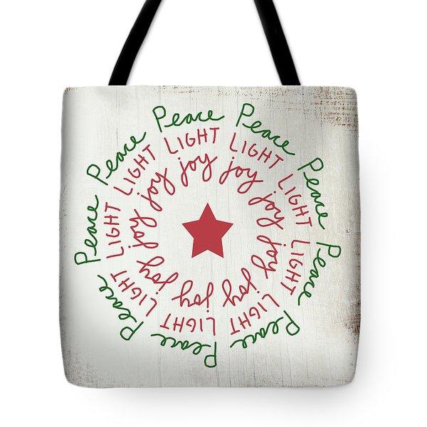 Peace Light Joy Wreath- Art By Linda Woods Tote Bag