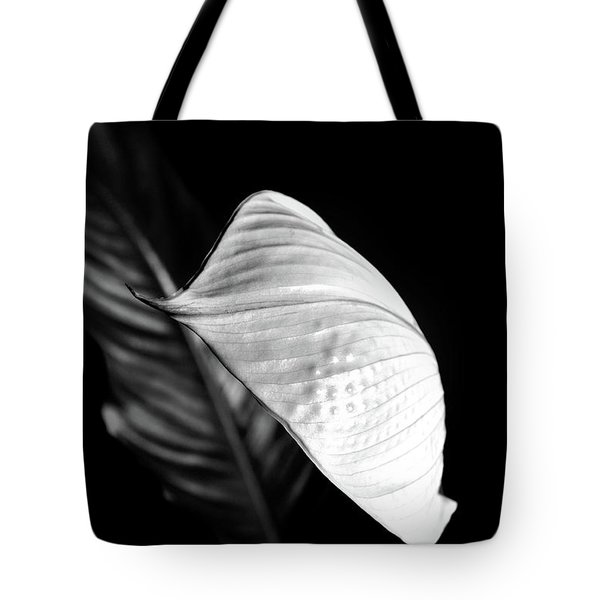 Peace Lily Minimalism In Black And White Tote Bag