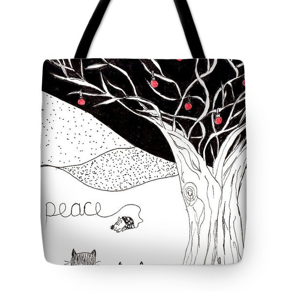 Tote Bag featuring the drawing Peace by Lou Belcher