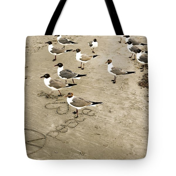 Peace On The Beach Tote Bag by Marilyn Hunt