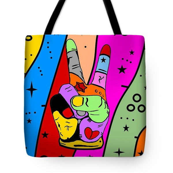 Peace Popart By Nico Bielow Tote Bag