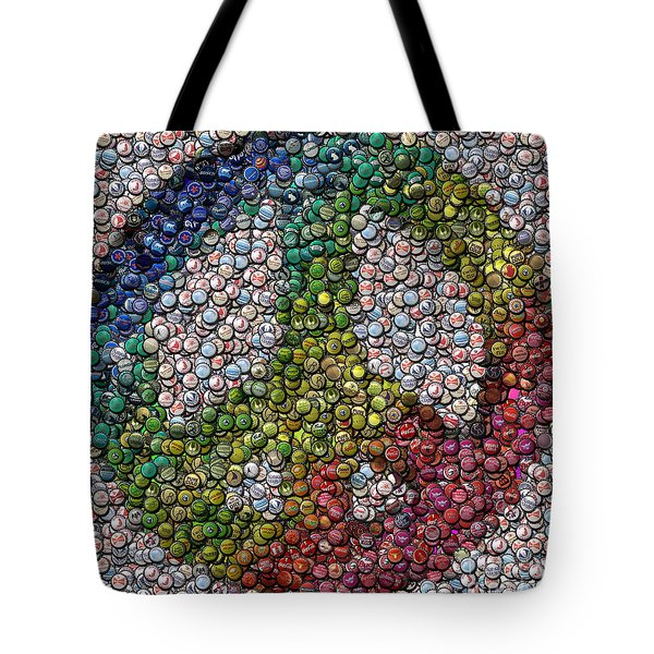 Tote Bag featuring the digital art Peace Sign Bottle Cap Mosaic by Paul Van Scott