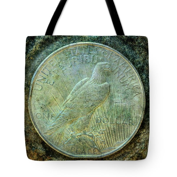 Tote Bag featuring the digital art Peace Silver Dollar Reverse by Randy Steele