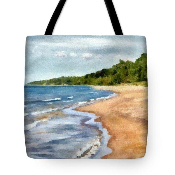 Peaceful Beach At Pier Cove Ll Tote Bag