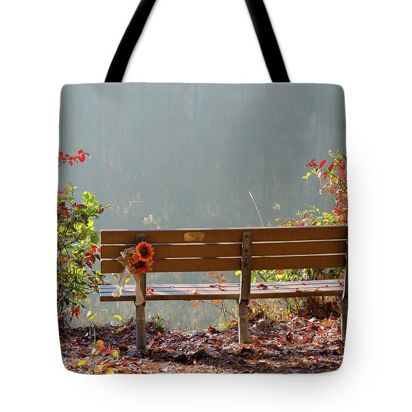 Tote Bag featuring the photograph Peaceful Bench by George Randy Bass