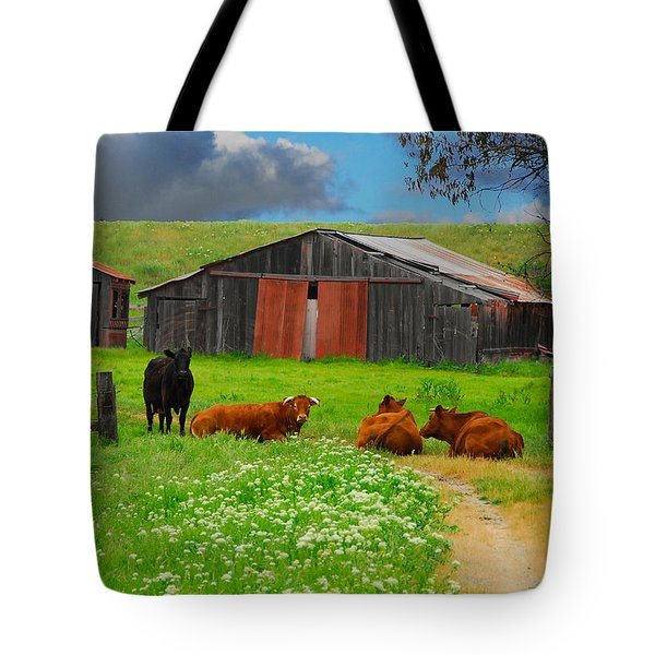 Peaceful Cows Tote Bag by Harry Spitz