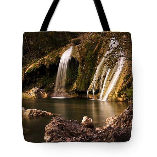 Tote Bag featuring the photograph Peaceful Day At Turner Falls by Tamyra Ayles