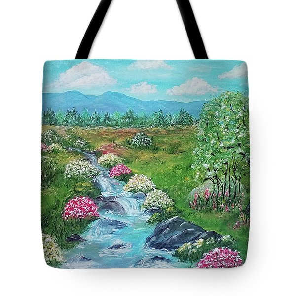 Tote Bag featuring the painting Peaceful Meadow by Sonya Nancy Capling-Bacle